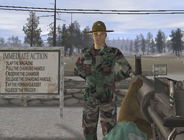 Marskmanship Training Screenshot: Aiming at the Drill Sergeant